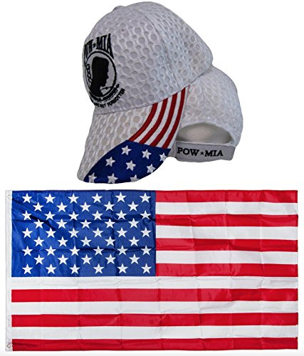 POW MIA USA American Flag POWMIA Textured Mesh White Embroidred Hat Cap & USA Flag 3x5 Super Polyester Nylon Flag 3'x5' House Banner Grommets Double Stitched Premium Quality