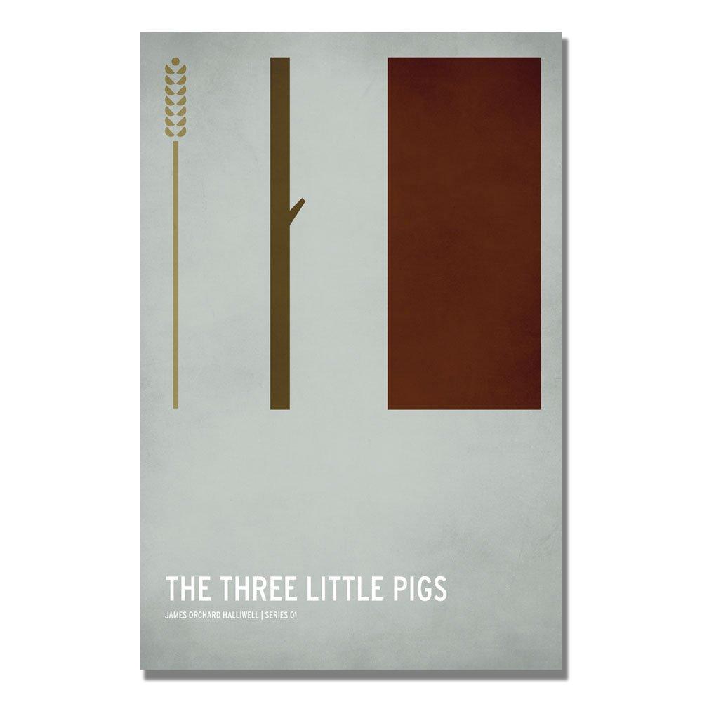 Trademark Fine Art Three Little Pigs by Christian Jackson, 16x24-Inch Canvas Wall Art
