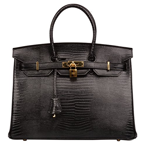 or Focus Unreal Colour Lizard Embossed Patent Leather Padlock Top Handle Handbag Women's Briefcase (35 cm, Black) (Black Patent Lizard)