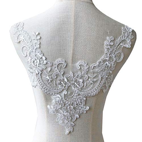 (Off-White V-Neck Lace Applique Embroidery Floral Appliques Trims Collar Patch for Wedding Dresses Gown Costumes)