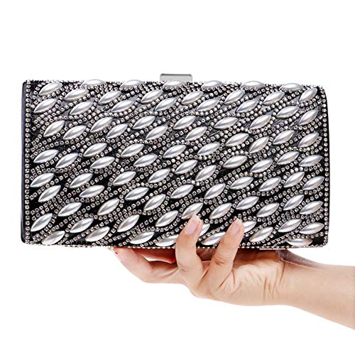 Evening Bags Elegant Bead Clutches Womens Handbags Black Party Purse For Chain Wallet dR5x5zq
