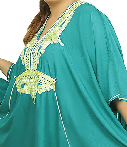 Moroccan Caftan Women Plus size Hand Made Caftan with Embroidery XXL to 4XL Green by Moroccan Caftans (Image #5)