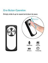 Mini Grabadora de voz, milaloko 140 horas Capacidad máxima memoria de 8 GB Grabadora de voz digital grabadora para reuniones Entrevistas y de grabación de sonido, Small, Plateado