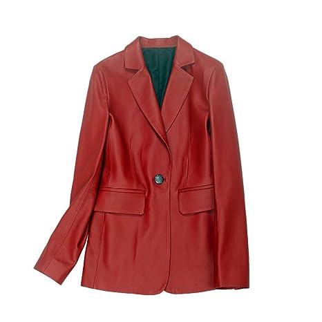 GWDYE Chaqueta de Traje de Cuero para Mujer, Rojo 100% Cuero ...