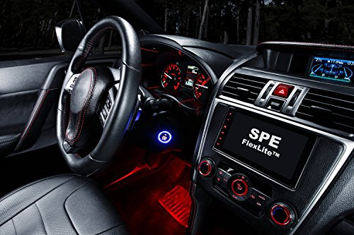SPE Car LED Strip Light, 4pcs DC 12V Multi-color Car Interior Music Light LED Underdash Lighting Kit with Sound Active Function and Wireless Remote Control, Included Car Charger (6-Inch)