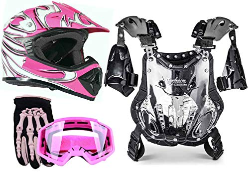 Typhoon Youth Girl's Motocross Helmet Gloves Goggles Chest Protector Combo ATV Dirt Bike MX - Pink (XL)