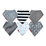 Drool Bibs (6 Pack) Unisex Baby Bandanas | Monochrome Design For Girl or Boy | Newborn to Toddler by oak + mini