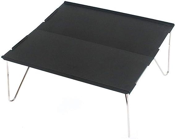 Mesa auxiliar de jardín Mini mesas plegables portátiles al aire libre Soporte de escritorio de aluminio de aviación Mesa plegable de viaje integrada Mesa simple versátil con bolsa de almacenamiento pa: Amazon.es: