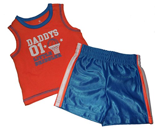 Small Wonders 2 Piece Basketball Design Baby Boy Outfit Set Sleeveless T shirt Shorts (6-9 mos)