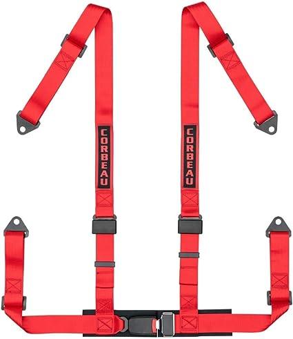 corbeau 2 BOLT-IN arnés cinturón de 4 puntos de color rojo: Amazon ...