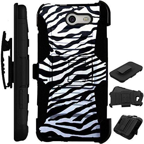 - For Samsung Galaxy J3 Mission / J3 Eclipse / J3 Luna Pro / J3 Emerge / Sol 2 / J3 Prime / Amp Prime 2 / Express Prime 2 Case + Tempered Glass Cover Stand LuxGuard Holster (Zebra Print)
