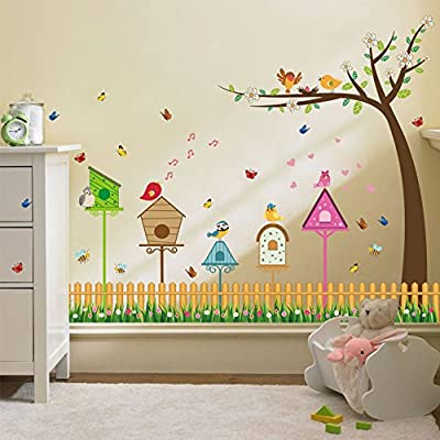 Wallpark Cute Singing Bird Flower Fence Tree Baseboard Removable Wall Sticker Decal, Children Kids Baby Home Room Nursery DIY Decorative Adhesive Art Wall Mural