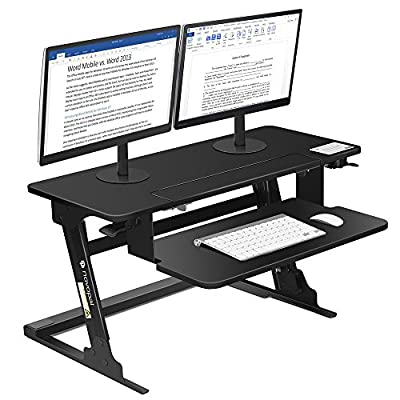 "Novopal Sit to Stand Adjustable Standing Desk,Height Elevating Lift Desktop Table,Monitor Riser/Workstation Converter With Lockable Shelf, 35.4"" Wide With Ergonomic Keyboard Tray-Preassembled (Black)"