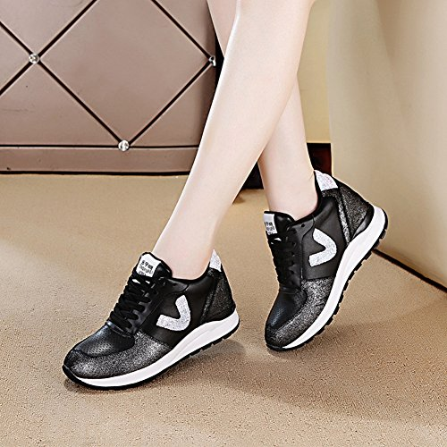 Btrada Womens Breathable Sneakers Lightweight Lace-Up Sports Walking Shoes Shiny Casual Running Shoes Black yOFgtFNtDZ