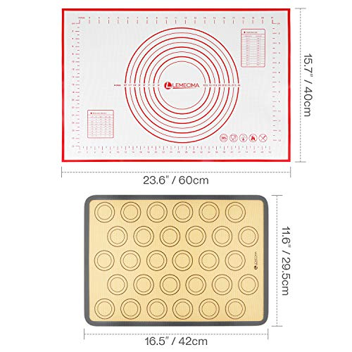 Silicone Baking Mat Bundle (10-Piece Set) Pastry Mat Cookies Mat Fondant Mat Silicone Non Slip for Rolling Dough, Pie Crust, Pizza and Cookies