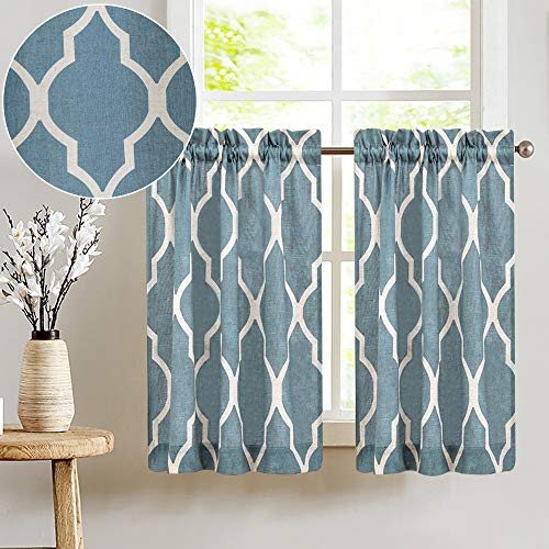 Moroccan Tile Printed Tier Curtains for Kitchen Modern Cafe Half Window Panels 36 inch Length Lattice Flax Linen Blend Textured Curtain Set 1 Pair Blue (Panels Modern Window)