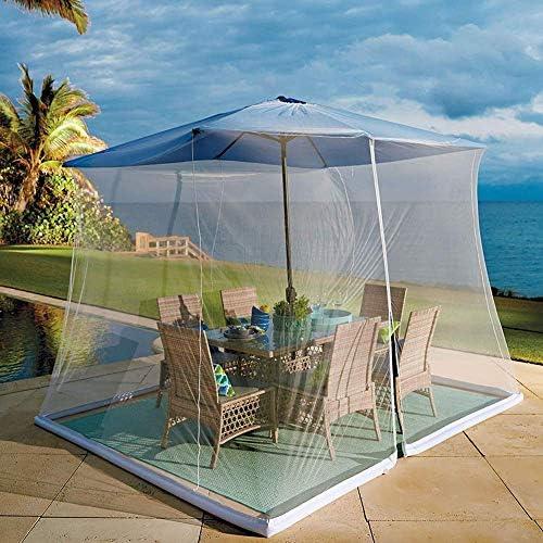 屋外の庭の傘のテーブルスクリーンの屋外の蚊帳、ジッパーのドアおよびポリエステルメッシュの網、高さおよび直径の調節可能、屋外のテラスのキャンプの傘に最適