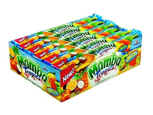 Mamba King Size Tropics Fruit Chews , 24 Count (SUGAR CANDY - KING SIZE) (Mamba Fruit Chews)