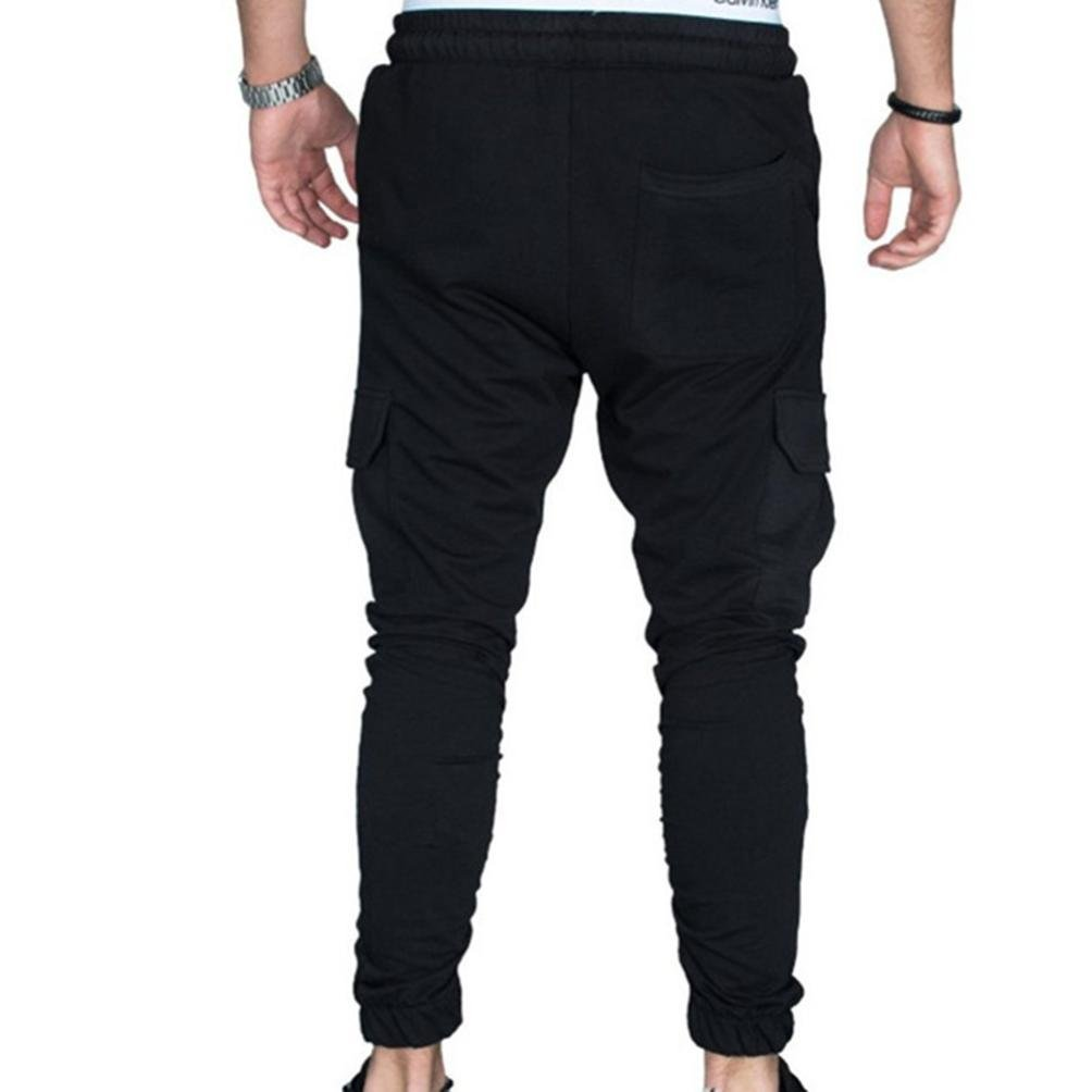 6c08f838136 Top2  Binmer Men Tight Beam Foot Drawstring Sports Slacks Casual Elastic  Pockets Trousers