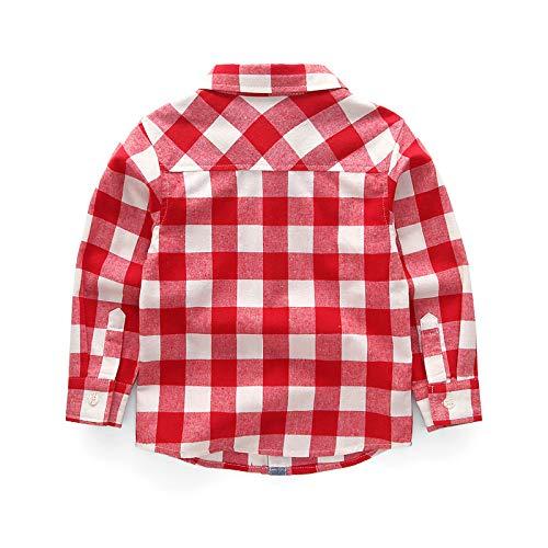 Bmeigo Kids Casual Shirts Cotton Plaid Check Fleece Long Sleeve Blouse Tops