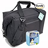Polar Bear Coolers Nylon Series Soft Cooler Tote Size 24 Pack Black & Fit & Fresh Cool Coolers Slim Ice 4-Pack (Bundle)