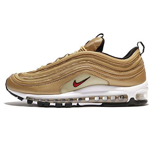 NIKE AIR MAX 97 OG QS Mens Fashion-Sneakers 884421-700_8.5 - Metallic Gold/Varsity RED-White-Black