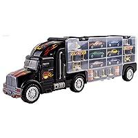 WolVol Transport Car Carrier Truck Toy para niños y niñas (incluye 6 automóviles y 28 ranuras)