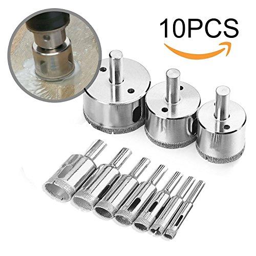 Diamond Drill Bits, KKtick Hollow Core Drill Bit Set for Ceramic, Glass, Porcelain Tile Diamond Hole Saw Tile Set Glass Drill Bit 10 Pcs -