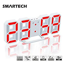 Alarm Clock with Jumbo 3D Digits, Snooze for Heavy Sleeper, 3 Levels of Brightness, Dimmable Night Light, Modern Alarm Clock for Living Room Decor, Office, Hotel (White/Red)