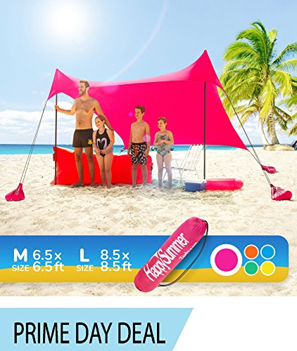 Sunshade Beach Tent – Sun Shelter Pop-Up & Wind Protection – Portable, UPF50+ UV Protection Lycra Canopy with Anchors, Stakes, Poles, Carry Case for Camping & Outdoor Family Activities by HappySummer