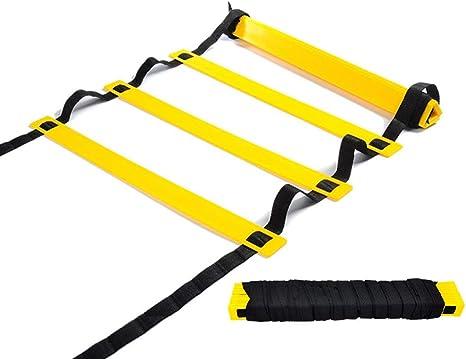 Songlela Escalera Velocidad, Ajustables Escalera de Agilidad con Bolsa, Escalera de Entrenamiento de Velocidad y Agilidad para Fútbol, Baloncesto, Voleibol, Rugby, Hockey y Más - 4m, 8 Peldaños #1: Amazon.es: Deportes y