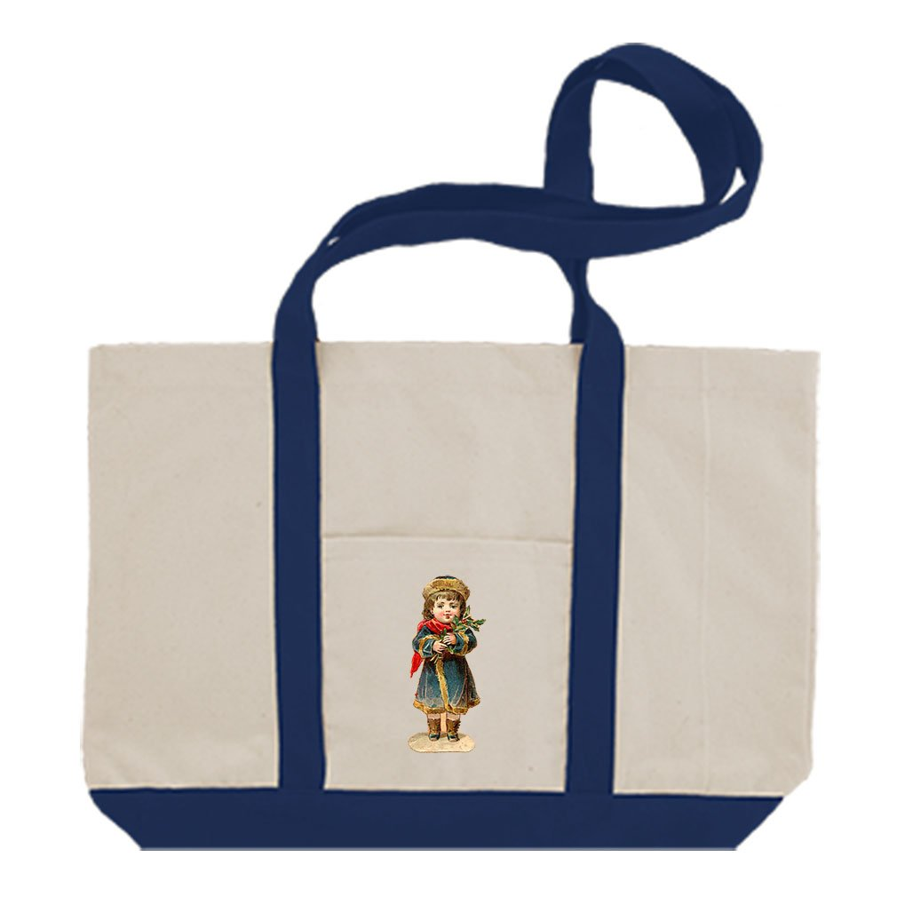 Cotton Canvas Boat Tote Bag Girl In Navy Coat Vintage Look By Style In Print | Royal Blue