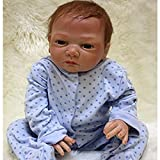 NPK Lifelike Reborn Baby Dolls boy 20' Soft Silicone Vinyl Handmade Weighted Baby Toddler Cute Doll Blue Outfit Gifts Set Ages 3+