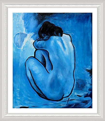 "Alonline Art - Blue Nude Pablo Picasso White FRAMED POSTER (Print on 100% Cotton CANVAS on foam board) - READY TO HANG | 25""x28"" 