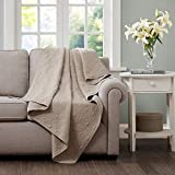 Madison Park Quebec Luxury Oversized Quilted Throw Khaki 60x70 Premium Soft Cozy Microfiber with Cotton Fill for Bed, Couch or Sofa