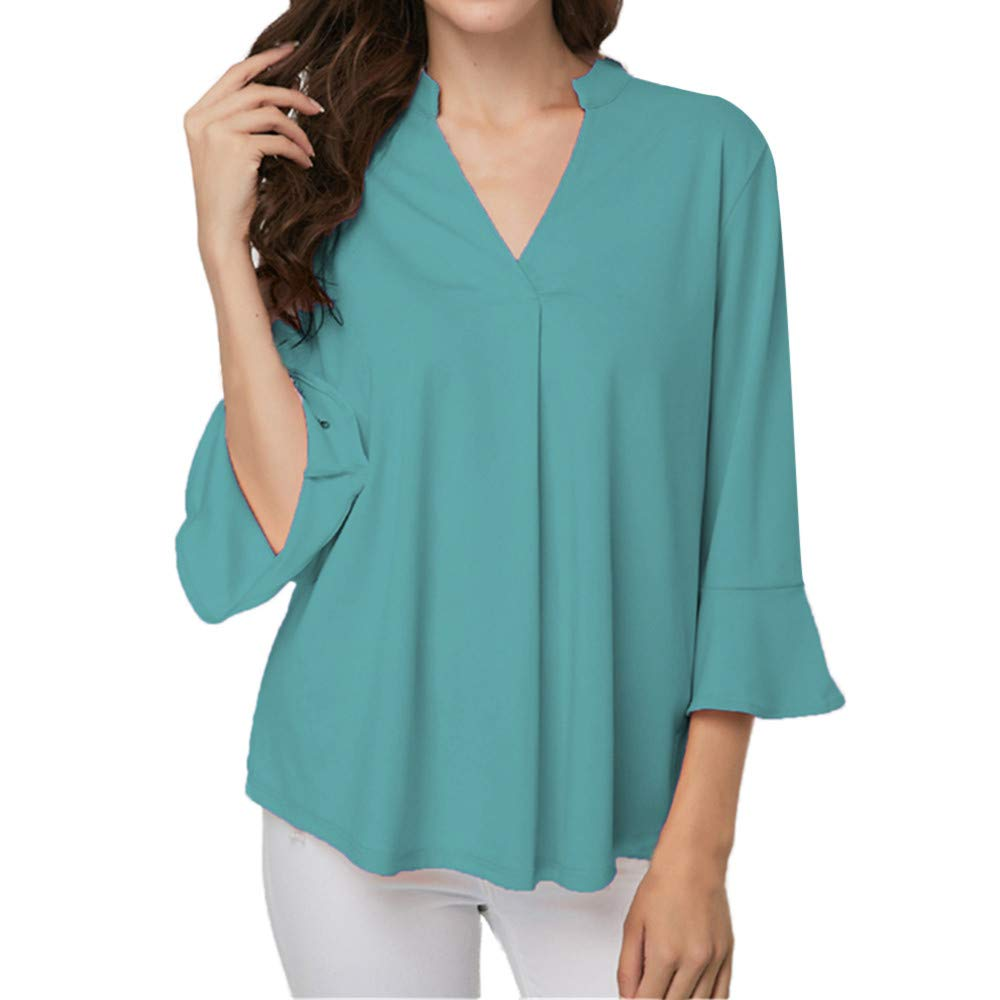 Women Loose 3/4 Sleeve Henley Shirts Casual V Neck Solid Ruffled Tunic Tops Blouse Tops for Women! Paymenow