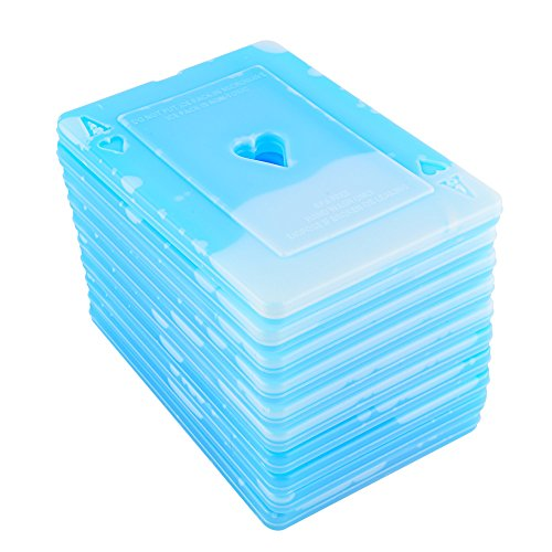 OICEPACK Ice Packs(Set of 10) Large Ice Packs for Lunch Boxes Cooler Ice Packs Long Lasting Lunch Bag Ice Packs Slim Reusable Cool Packs for Food Freezer Ice Packs with Poker ACE Heart Design Blue