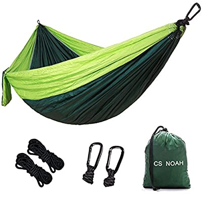 "CS NOAH Single Camping Hammock, Portable Nylon Parachute Hammock for Backpacking,Outdoor, Travel, hiking, Beach, Yard. 108""(L) x 55""(W)"