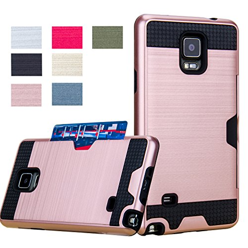 Galaxy Note 4 Case, AnoKe Hard Silicone Rubber Hybrid Armor Shockproof Protective Holster Cover Case For Samsung Galaxy Note 4 - KLS Metal Slate - KLS Rose Gold