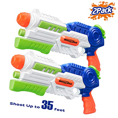 (HITOP Super Soaker Water Gun, 2 Pack Squirt Guns Water Guns for Kids Adults, 36oz High Capacity Fast Soaking Trigger Summer Water Blaster Toy for Swimming Pools Party Outdoor Beach)