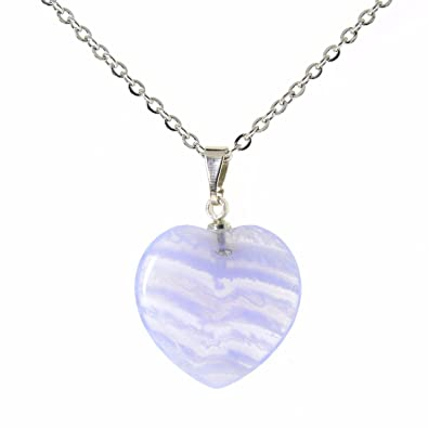 Amandastone Gemstone Natural Blue Lace Agate Heart Charm Pendant Necklaces 18 hjPsiqZb0