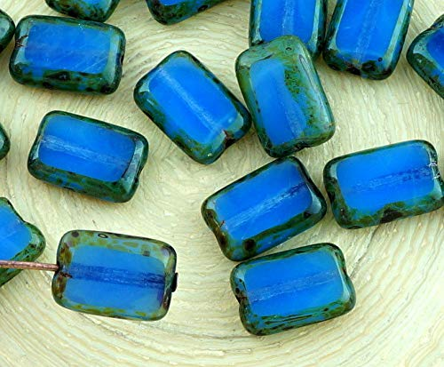 8pcs Picasso Brown Opal Blue Rustic Table Cut Flat Rectangle Czech Glass Beads 8mm x 12mm ()