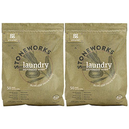 Grab Green Stoneworks Laundry Detergent Pods, Olive Leaf, 2 Count (Homemade Laundry Detergent For High Efficiency Washers)