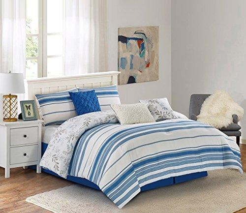 Wonder Home 7 Piece Modern Mediterranean Comforter Set, Luxury Yarn-Dyed-Like Reversible Bedding Set with Shams, Dec Pillows, Bedskirt, Queen, 92