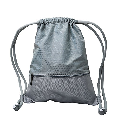 Alpaca Go Drawstring Bags,Lightweight Durable Waterproof Gym sackpack Sport Basketball Running Dancing Swimming Hiking Gym Backpack (Grey, Medium) (Dance Zipper)