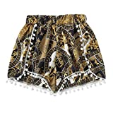 IAMUP Womens Lace Printing Pants Mid Waist Loose Shorts Elastic Waist Ringer Shorts Summer Outdoor Pants Yellow