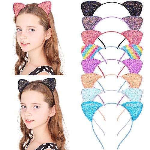 Girls Sequins Hairband Cat Ear Cosplay Hair Hoop for Women Headdress Party Gi CJ
