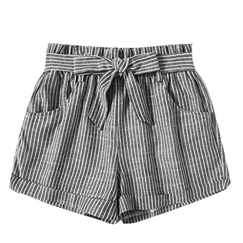 JOFOW Shorts Womens Vertical Striped Print Casual Loose Mini Pants Strappy High Waist Elegant Workwear A Line Trousers Gift ()