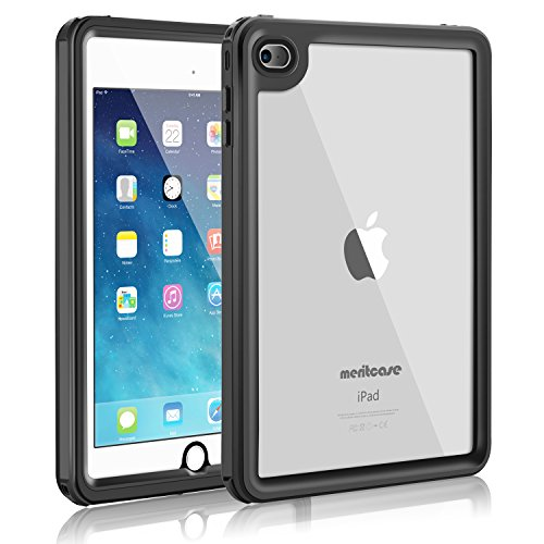 iPad Mini 4 Waterproof Case, Meritcase iPad Mini 4(7.9 inch), IP68 Waterproof Full Body Snowproof Dustproof Shockproof Case with Touch ID for Snowmobile Swimming Surfing Diving-- (Black)