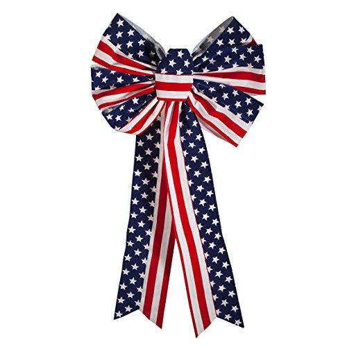 Fox Valley Traders Stars and Stripes Patriotic Indoor/Outdoor Bow (Stripe Ties Twist)